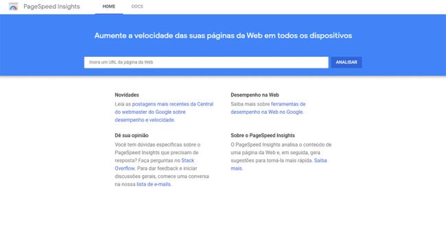teste de velocidade google pagespeed insights