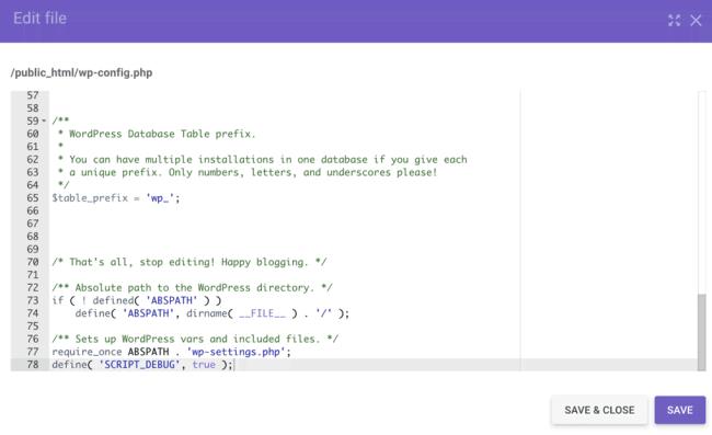 tela de edição do arquivo wp-config.php no wordpress
