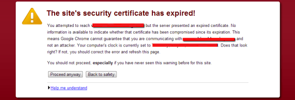 Site's Security Certficate has Expired