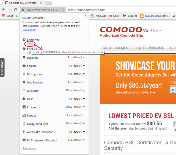 How to Find SSL Certificate Detail in Google Chrome