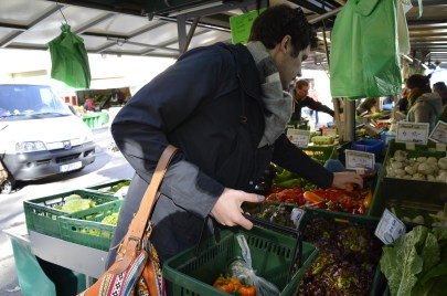 Selecting the veggies