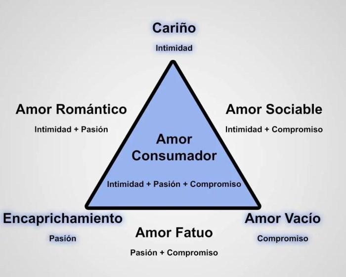 Los diferentes tipos de amor, establecidos por Sternberg, se centran en sus tres componentes principales: la pasión, la intimidad y el compromiso