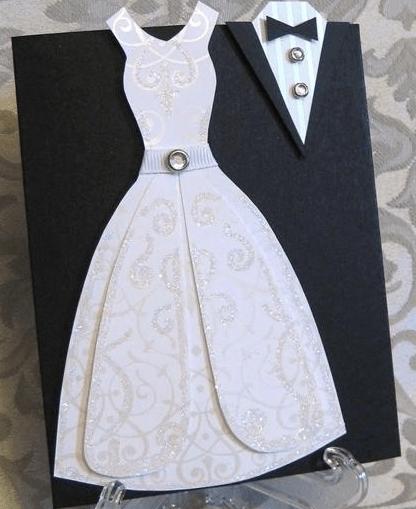 cmo hacer invitacin de boda con forma de vestido y traje
