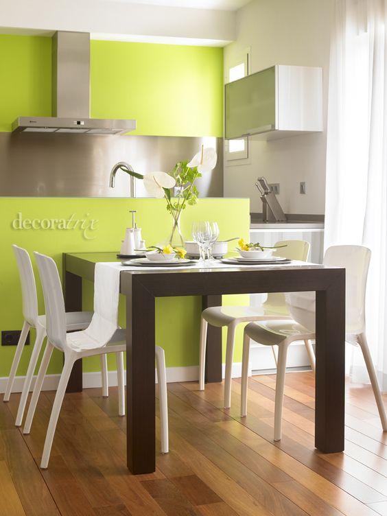 Ideas para decoracion color verde manzana  Como Organizar