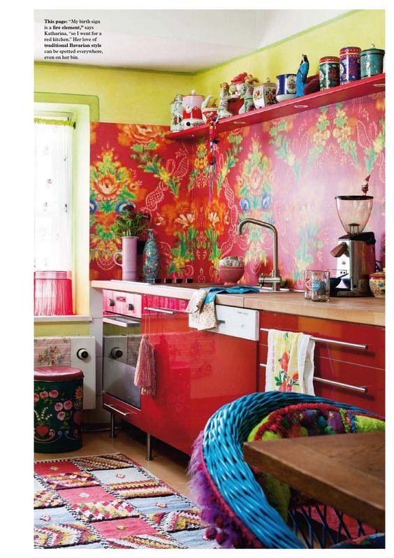 Decoracion hippie chic de cocinas 10  Como Organizar la