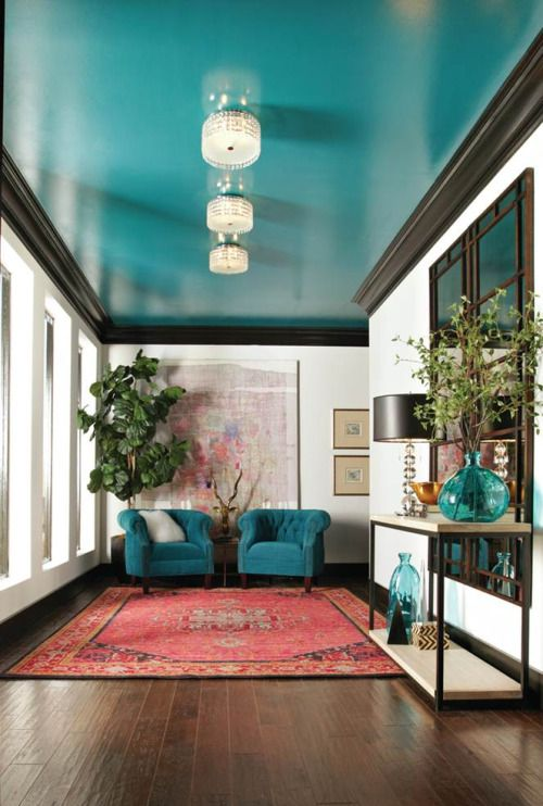 36ideasdecoracioninteriorescolorazulturquesa 29  Decoracion de interiores Fachadas para casas como Organizar la casa