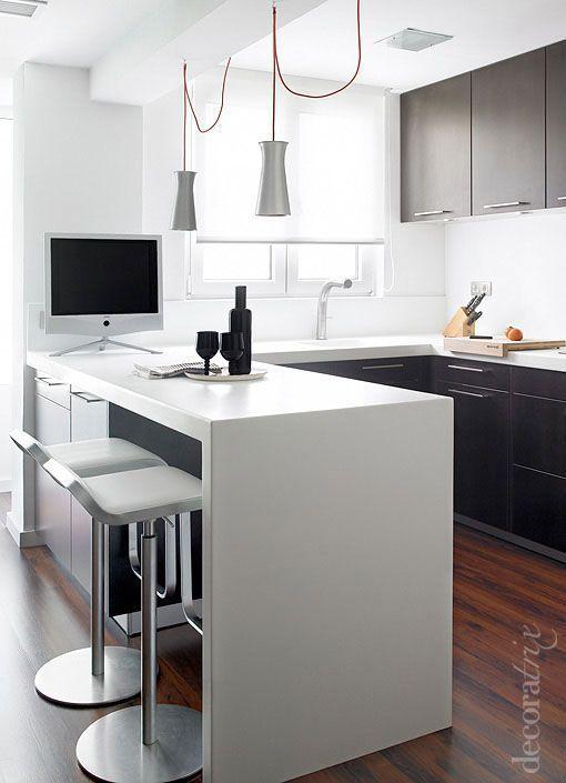 Diseos de cocinas pequeas con barra  Como Organizar la