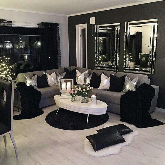 Modelos de salas Modernas y Atrevidas en Color Negro con