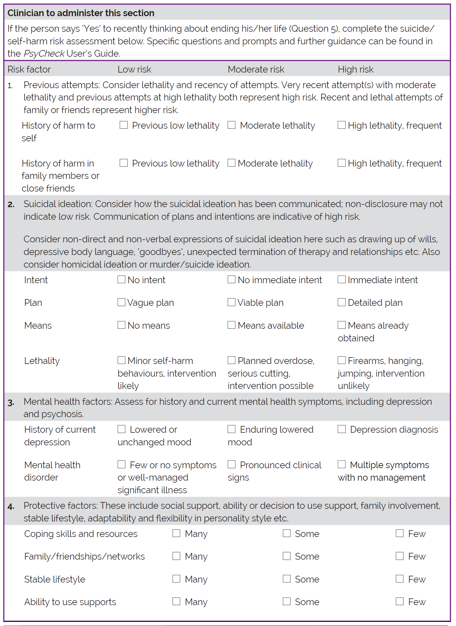 This Section Provides A Form For An Psycheck Risk Assessment
