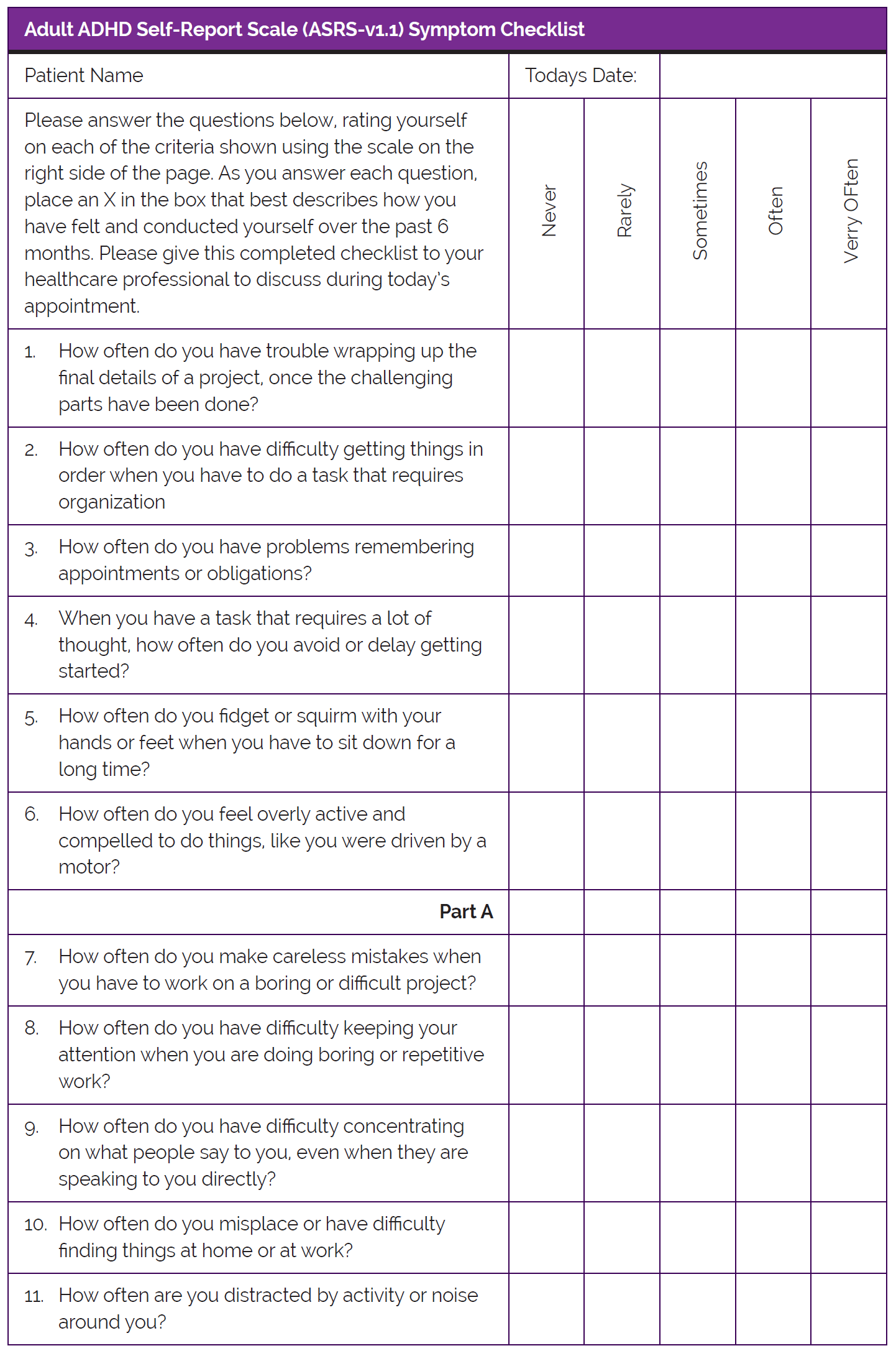 Adult Adhd Self Report Scale Asrs