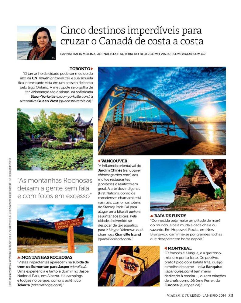 Dicas do Canadá, Nathalia Molina, @ComoViaja, Revista Viagem e Turismo