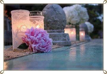 Shabby Chic Wedding - reception table close up peony