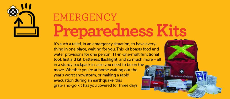 Buy A back pack full of emergency supplies
