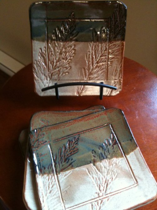 Pottery plates by Dawn Hanson