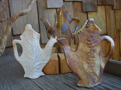 Pottery teapots by Shirley Phillips