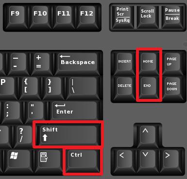 Pagpili ng teksto gamit ang dulo at home keys.