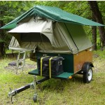 Compact Camping Trailer with Roof Top Tent Open