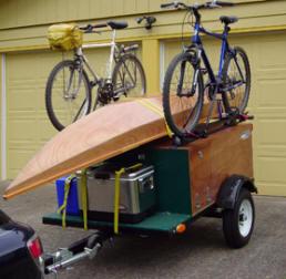 Compact Camping Trailer with bike racks and kayak gear hauler