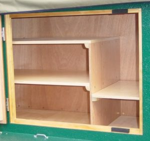 compact camping trailer build at home construction plans shelving front-empty