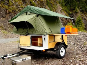 Explorer Box Camping Trailer DIY Compact Camping Trailer with roof top tent open
