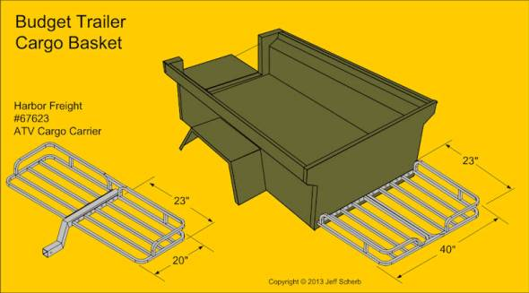 Harbor Freight Cargo Basket on Frame tongue for M416 Camping Trailer by Dinoot Trailers