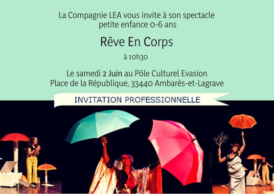 invitation Cie LEA - Rêve En Corps Ambarès