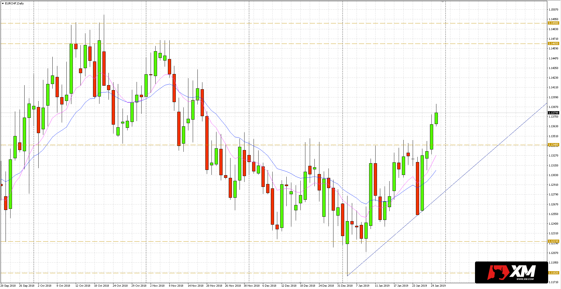 hight resolution of euro eur in relation to the swiss franc chf overcomes important resistance 30 01 19