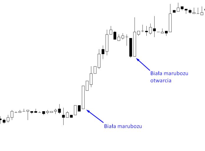 Biała marubozu oraz również biała marubozu z tym, że otwarcia. Obie świece widoczne na wykresie występują jako formacje kontynuacji aktualnej tendencji.