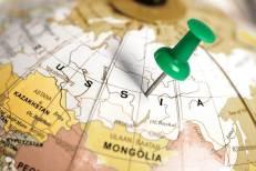 Terytorium Rosji zaznaczone na globusie