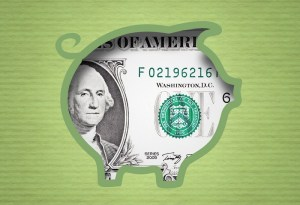banknot dolara wewnątrz grafiki świnki skarbonki