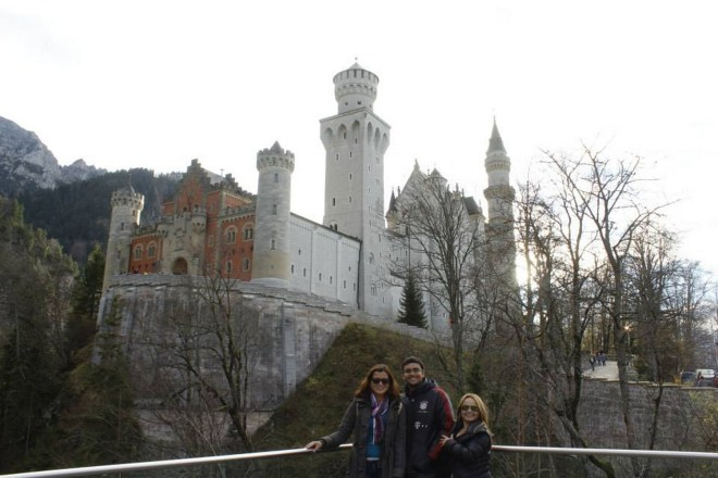 Com Leslie no castelo de nome impronunciável, Neuschwanstein