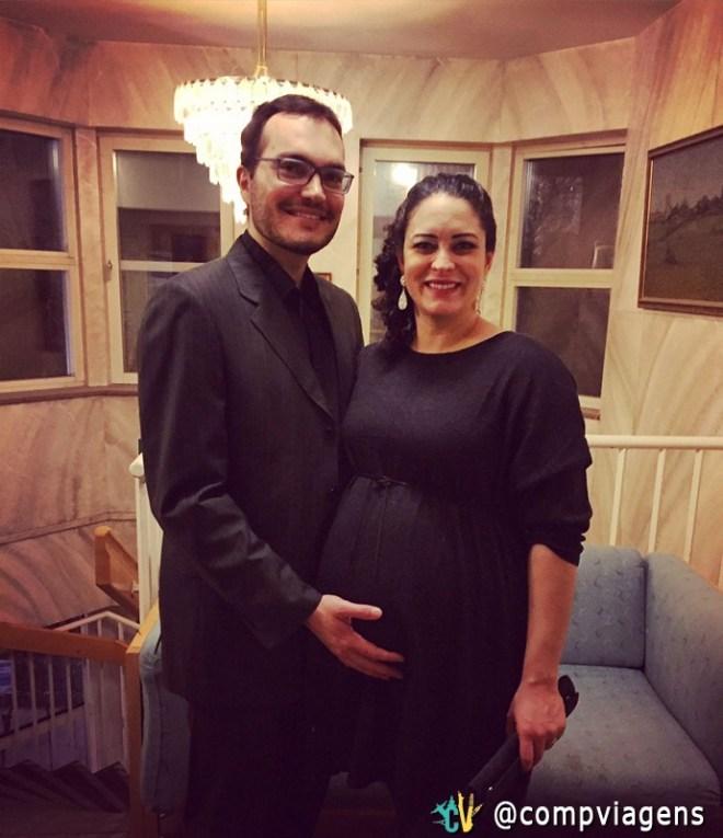 Com o marido, dois dias antes de ter o filho caçula