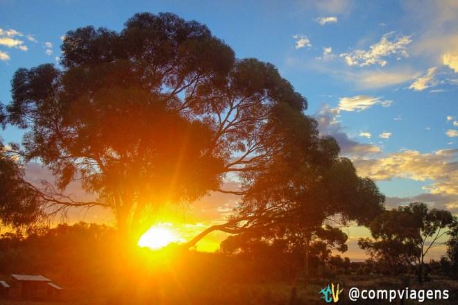 Pôr do sol no Campground perto de Port Augusta