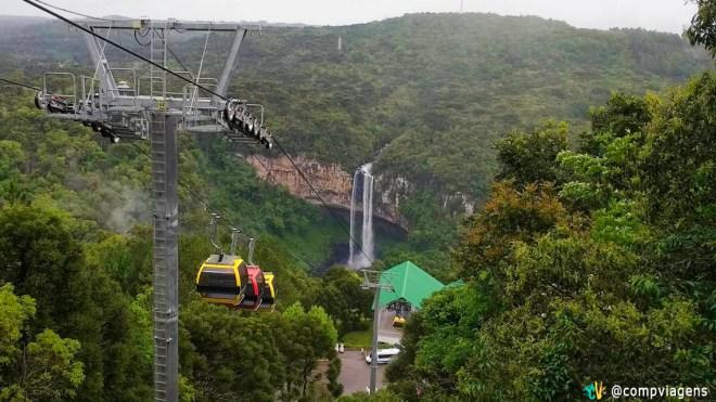 Bondinhos do Parques da Serras, em Canela, e a Cascata do Caracol