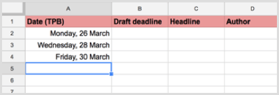 blog publishing dates on calendar