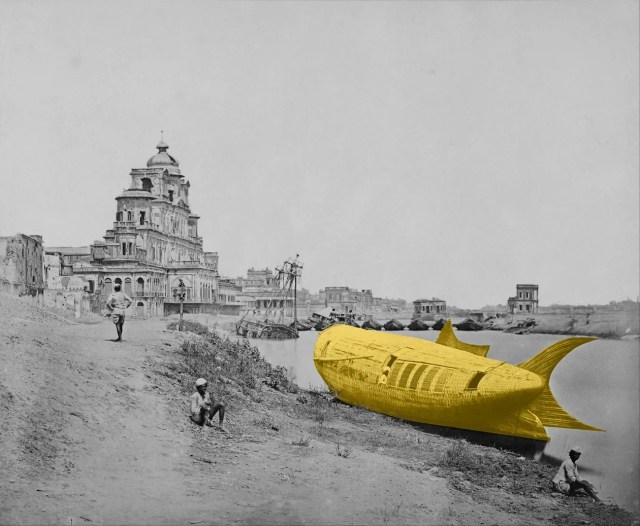 After Felice Beato, 2016 (Veduta del palazzo Chatzil Manzil con la barca del re sul fiume Gumti, Lucknow, durante l'ammutinamento indiano, 1858)