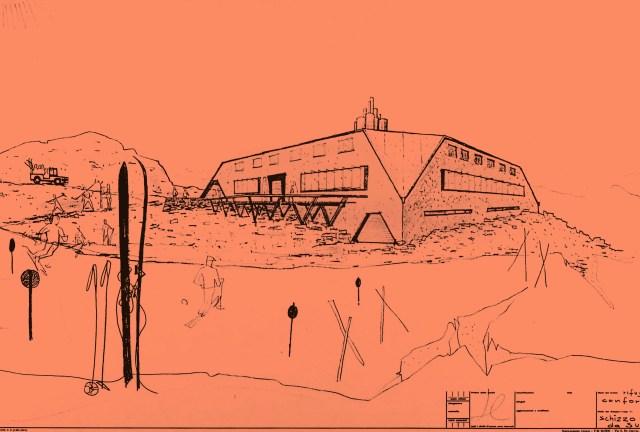 Joe Colombo, progetto del rifugio sciistico Confortola, Passo dello Stelvio, disegno in prospettiva della facciata sud. Courtesy Ignazia Favata/Studio Joe Colombo, Milano.