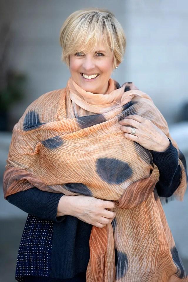 Kathie Donovan wearing Clare Hodgett's 'Flicker' scarf