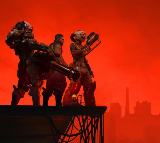 The Ascent. Un grupo de tres personas armadas en el borde de un andamio, contemplando una gran ciudad cubierta de luces rojas.
