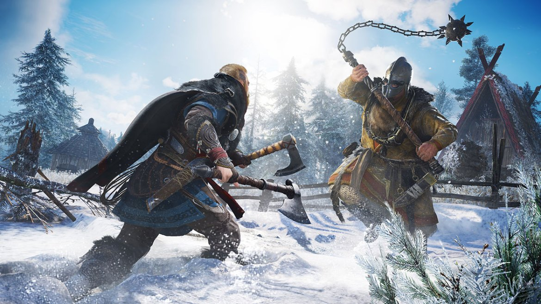 Dos personajes de Assassin's Creed Valhalla peleando en la nieve