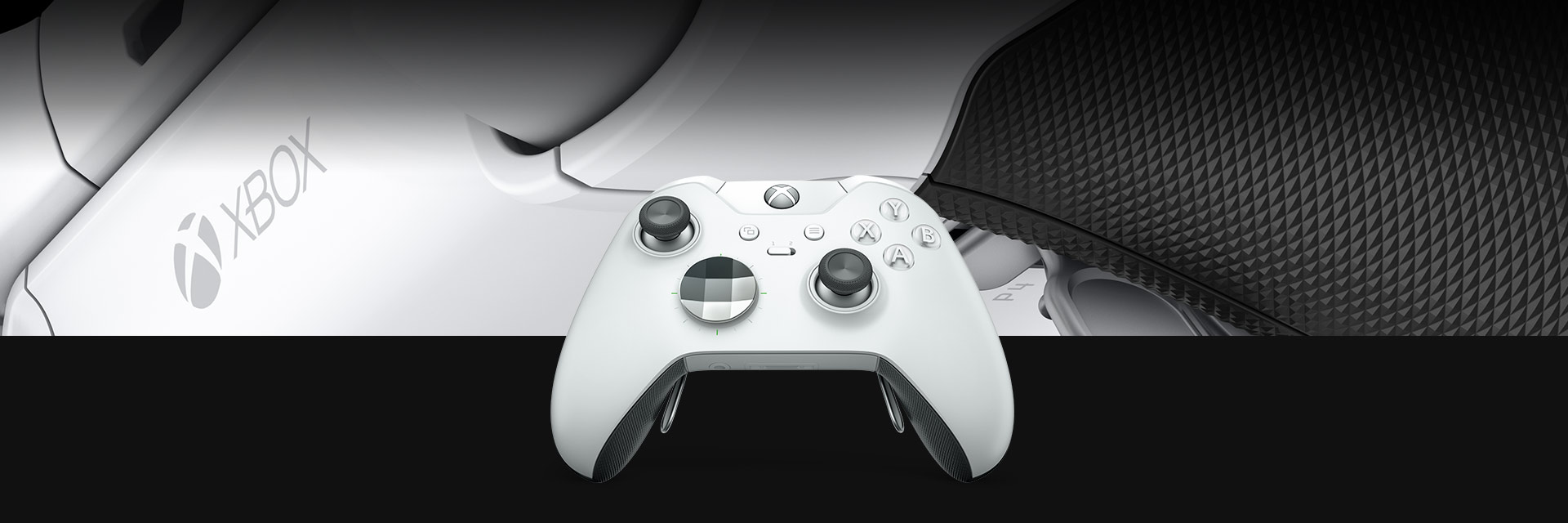 front view of the xbox one white elite wireless controller [ 1920 x 640 Pixel ]