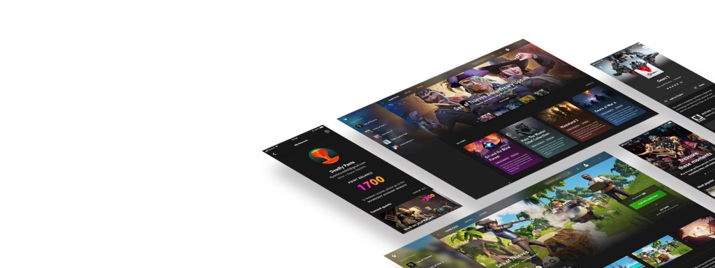 Floating mobile screens from the Xbox Game Pass App