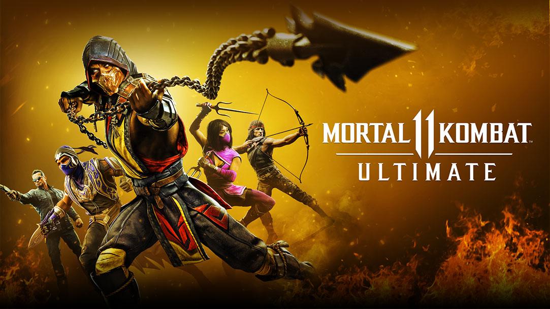 The cover of Mortal Kombat 11 Ultimate, with Scorpion, Rain, Mileena, Rambo, and the Terminator.