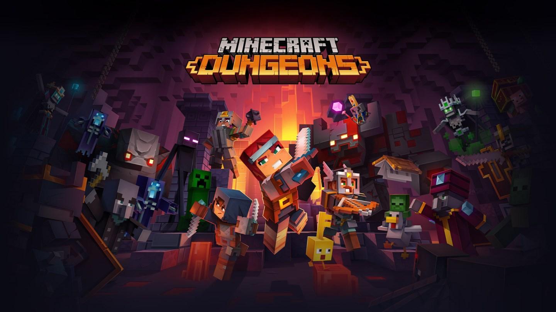 Logo Minecraft Dungeons devant tous les personnages de Minecraft se battant dans un donjon