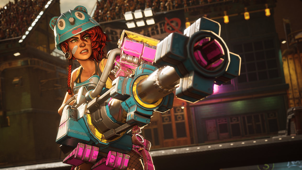 Le personnage Gizmo pointe un pistolet maladroit et coloré hors de l'écran alors qu'elle grimace.