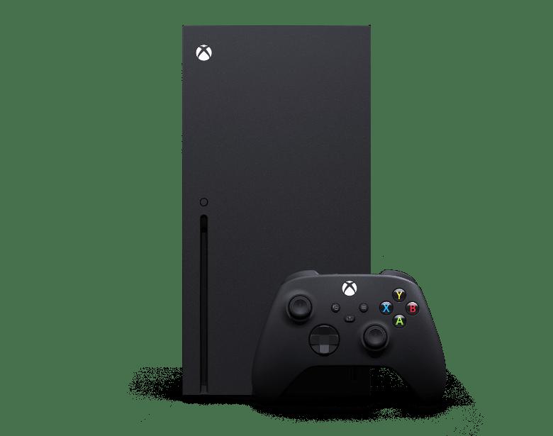 Imagen en miniatura: parte delantera de la Xbox Series X con control inalámbrico Xbox