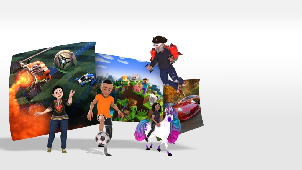 Gamer avatars with gameplay images from Rocket League, Minecraft, and Forza Horizon 4 behind them.