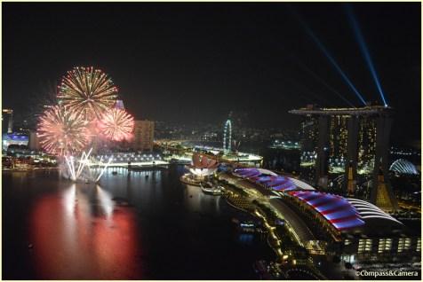 Fireworks and Marina Bay Sands