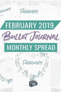 february 2019 bullet journal monthly spread