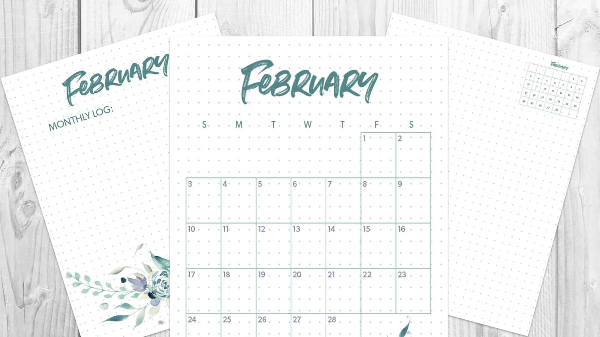 image about Bullet Journal Monthly Spread Printable named February 2019 Bullet Magazine Regular Unfold - Comp and Ink